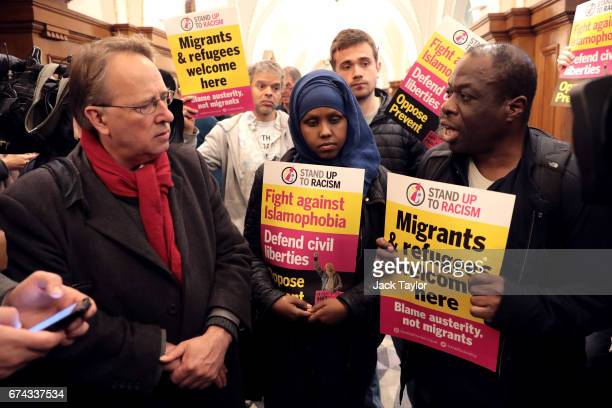 Antiracism protesters speak to the media after being removed ahead of UKIP Leader Paul Nuttall's speech at the Marriott County Hall Hotel on April 28...