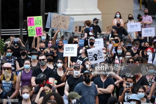 Antiracism protests continue at the Madison Square Park in New York City United States on July 4 2020 which have started over the death of George...