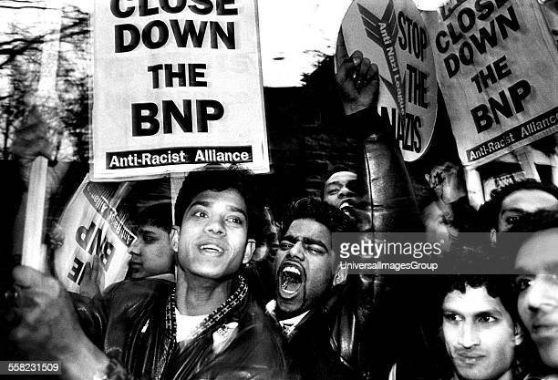 AntiRacist Alliance supporters picketing a meeting of the BNP at York Hall Bethnal Green East London April 1992