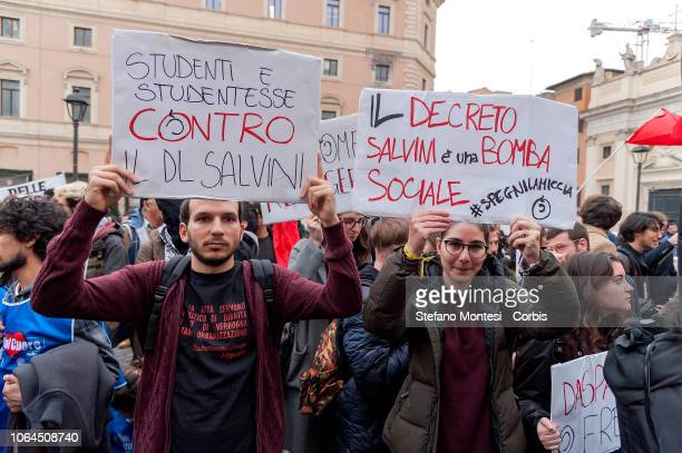 Antiracist associations demonstrate against the Government racism and the Salvini Decree' on November 23 2018 in Rome Italy The Security Decree Bill...