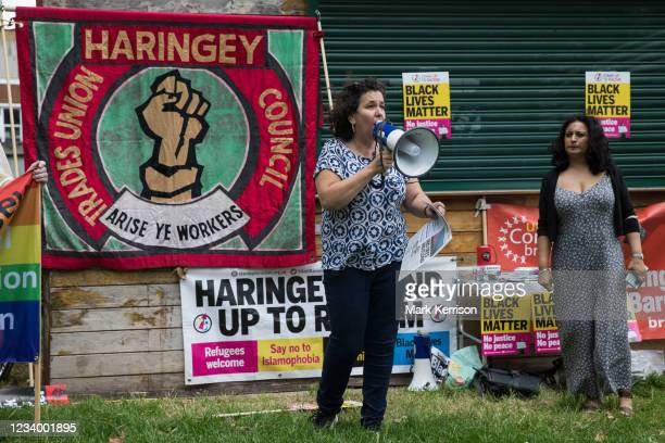 Anti-racist campaigners attend an event on Ducketts Common organised by Haringey Stand Up To Racism during which a knee was taken in solidarity with...