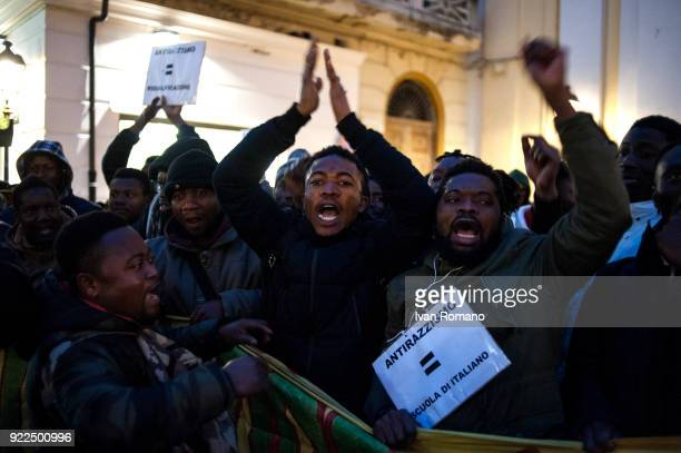 Antiracist demonstration of social centers and militants of the left on occasion of the visit of Matteo Salvini premier candidate for the Northern...