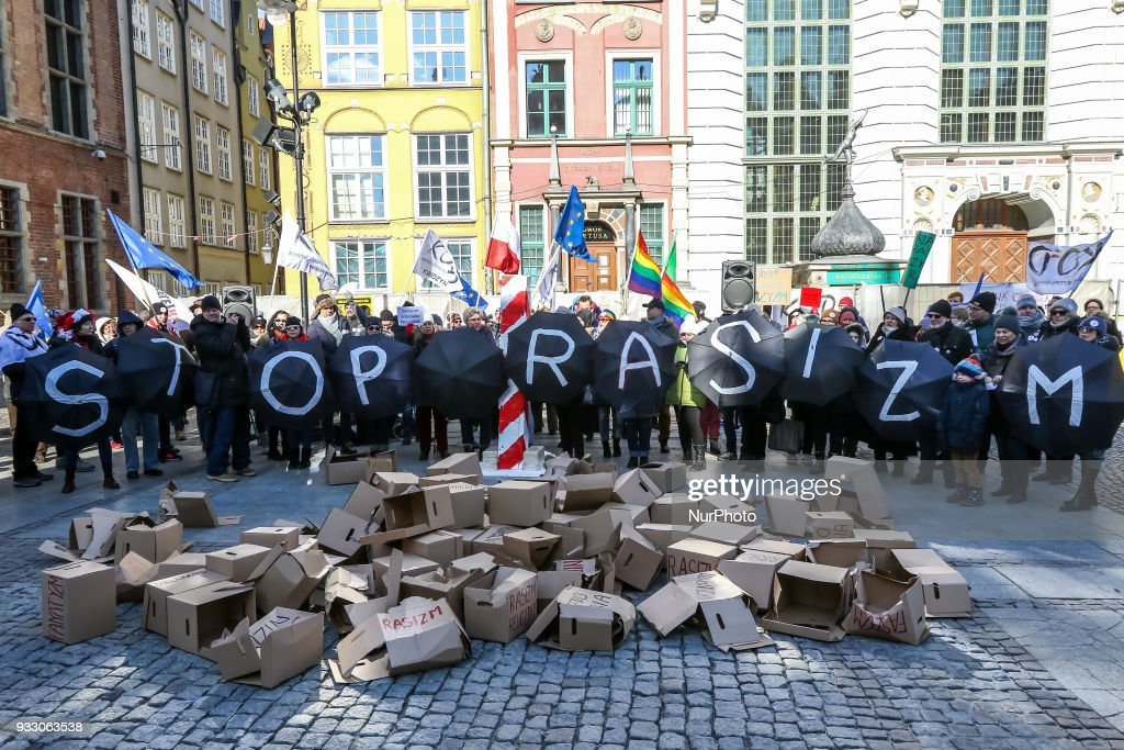 STOP RACISM rally in Gdansk : News Photo