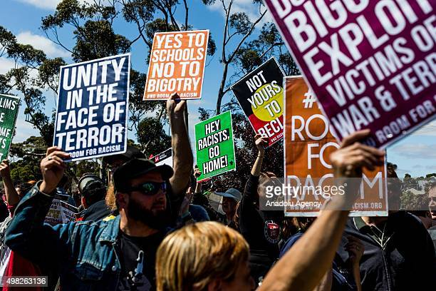 Antiracist protesters stage a rival demonstration against a racist and AntiIslamic protest organized by the far right wing group in Melbourne...