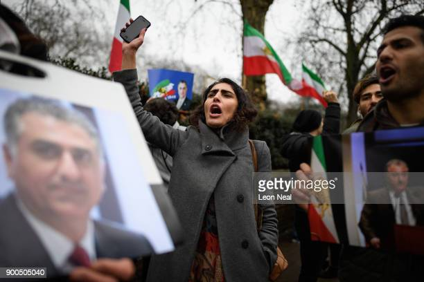 Antiregime protestors demonstrate outside the Iranian embassy on January 2 2018 in London England Protests in Iran have seen at least 12 people die...