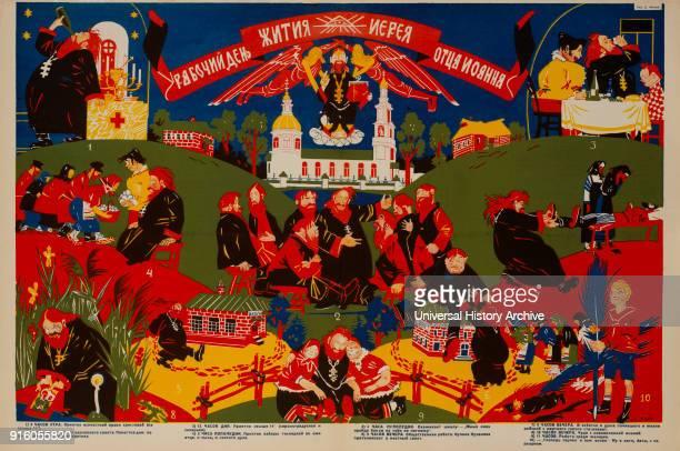 AntiReligion Propaganda Poster A Day in the Life of a Priest Bezbozhnik u Stanka Magazine Illustration by Dmitry Moor Russia 1920's