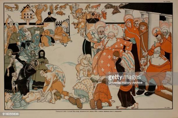 AntiReligion Propaganda Poster Bezbozhnik u Stanka Magazine Illustration by Dmitry Moor Russia 1920's