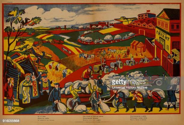 AntiReligion Propaganda Poster Bezbozhnik u Stanka Magazine Illustration by Alexey Radakov Russia 1920's