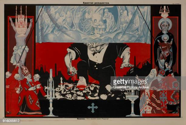 AntiReligion Propaganda Poster Christ is Born Bezbozhnik u Stanka Magazine Illustration by Dmitry Moor Russia 1920's