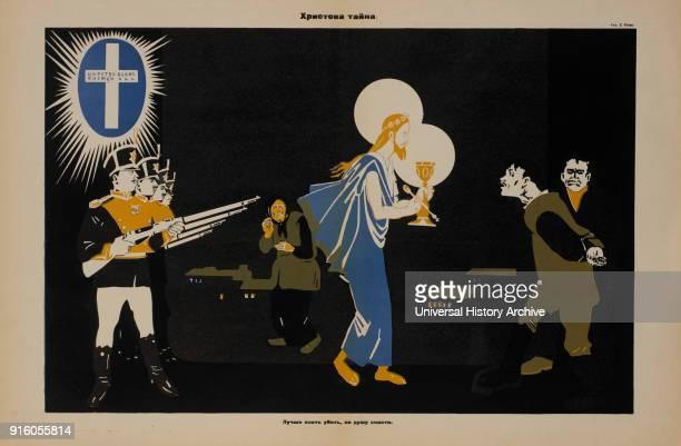 AntiReligion Propaganda Poster Mystery of Christ Bezbozhnik u Stanka Magazine Illustration by Dmitry Moor Russia 1920's