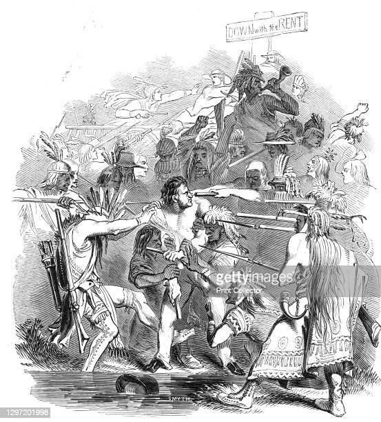 Anti-rent insurrection - attack on the Sheriff of Albany, 1844. White settlers demand payment from indigenous Americans, with consequences: '...the...