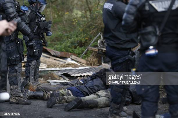 Anti-riot gendarmes arrest protesters during clashes at the ZAD decade-old anti-airport camp in Notre-Dame-des-Landes, western France, on April 15,...
