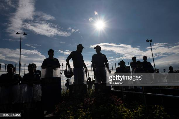 Antiriot police stand in formation while Filipinos protest against Philippine President Rodrigo Duterte as they mark the anniversary of the 1972...