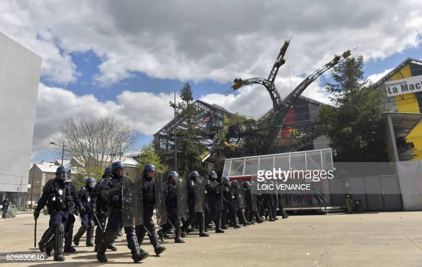 Antiriot policemen take position during clashes within a demonstration against the French government's proposed labour reforms on April 28 2016 in...