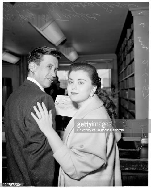 Antiromance rule of law firm broken 6 February 1957 Jay M Taylor 30 years attorney Elaine Barbara Eagle 18 years Caption slip reads 'Photographer...