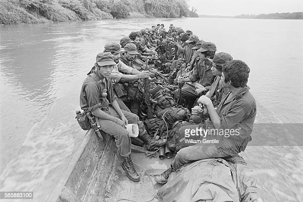 AntiSandinista Contra forces move down the San Juan River which separates Nicaragua from Costa Rica The Contras were supported by the United States...