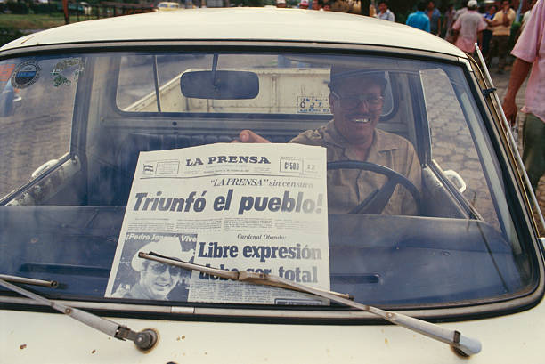 Anti-Sandinistas Celebrate the Publication of the Newspaper La Prensa
