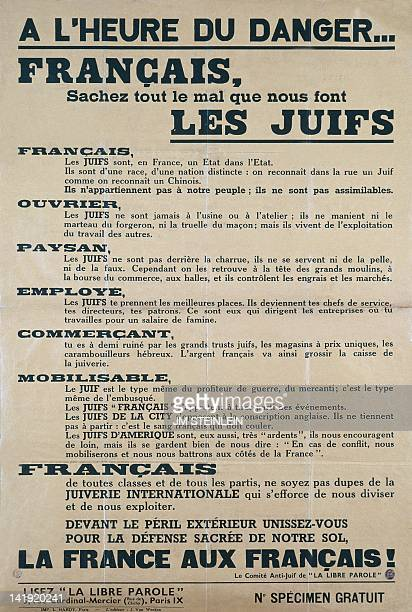 AntiSemitic propaganda poster from the French antiJewish Committee of the newspaper 'La Libre Parole created by Edouard Drumont in 1892 around...