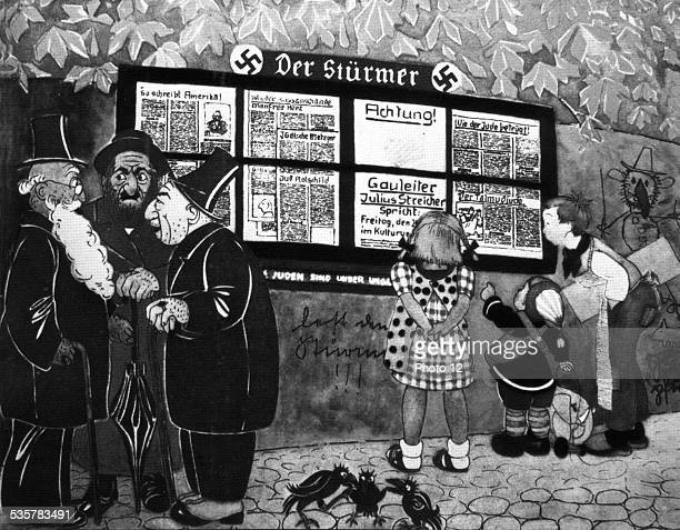 AntiSemitic satirical cartoon from an illustrated book for children Three elderly Jews watching Aryan children who read the antiSemitic newspaper...