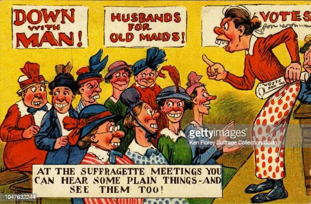 Antisuffrage color postcard with a satirical illustration depicting a mature woman with buck teeth speaking to a group of unattractive middleaged...