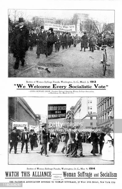 Anti-suffrage flyer with images of socialists marching in suffrage parades, warning of the danger to democracy posed by the 'Alliance' between...