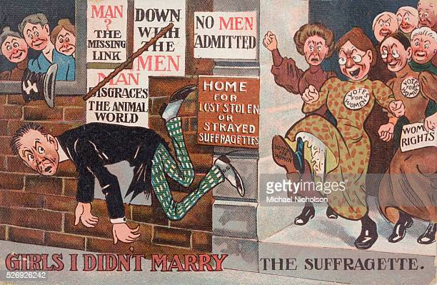 Antisuffragette postcard from the early years of the 20th Century Probably one of a series called Girls I Didn't Marry Shows a man being kicked out...