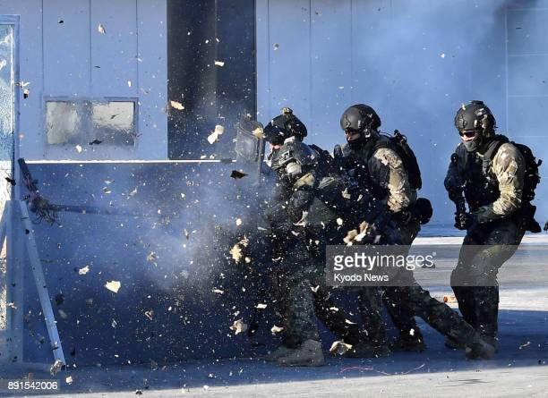 Antiterrorism drills are held at the Pyeongchang Olympic Stadium in Pyeongchang on Dec 12 ahead of the Winter Games in South Korea in February 2018...