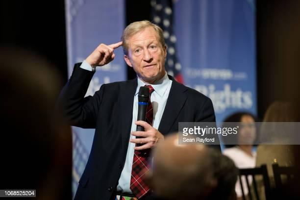 AntiTrump Billionaire Tom Steyer hosts a town hall meeting on December 4 2018 in Charleston South Carolina Steyer founder of NextGen America and Need...