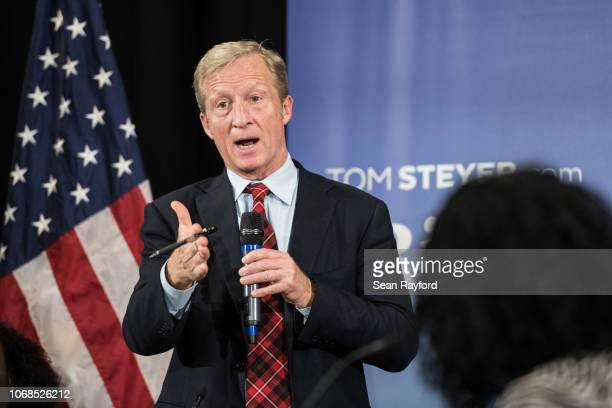 AntiTrump Billionaire Tom Steyer hosts a town hall meeting on December 4 2018 in Charleston South Carolina Steyer founder of NextGen America and Need...