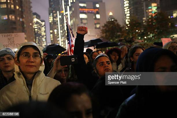 AntiTrump protesters gather in a park as New Yorkers react to the election of Donald Trump as president of the United States on November 9 2016 in...