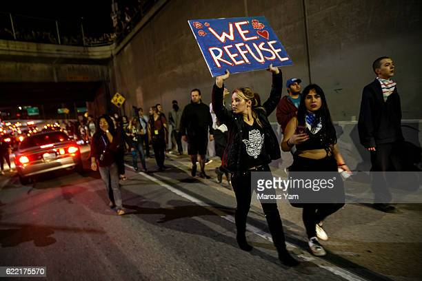 AntiTrump protesters walk out of the 101 freeway in Los Angeles Calif on Nov 10 2016