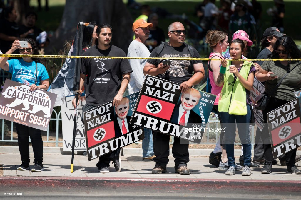 Anti-Trump protestors during a May Day protest in Los Angeles, California on May 1, 2017. Activists marked the International Workers' Day with rallies in support of rights for workers and immigrants, as well as opposition to Presidents Donald Trump.