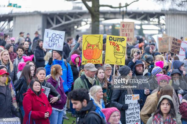 AntiTrump signs shown at the Waterfront Park at the end at Portland's National March for Impeachment on January 20 in downtown Portland OR