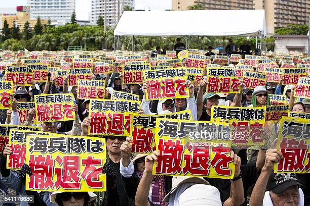AntiUS airbase demonstrators pray for a rape victim and protest the US Airbase relocation to Henoko at Ohnoyama General Athletic Field at the...