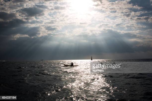 AntiUS base protesters in kayak were seen silouette during a protest of the relocation of US Marine Corps Air Station Futenma on February 8 2017 in...
