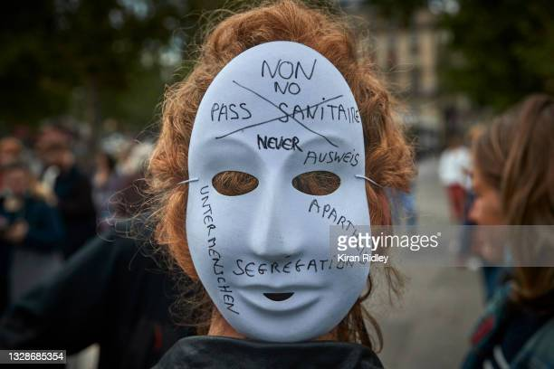 Anti-Vaccine protestors gather at Place de la Republique in protest against the new restrictions announced by President Macron on Monday claiming the...