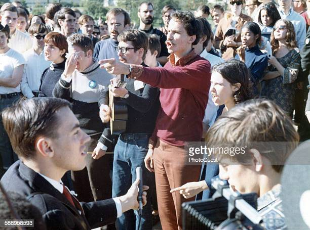 AntiVietnam War protestors shout at US Army troops on the steps of the Mall entrance to the Pentagon Washington DC October 21 1967