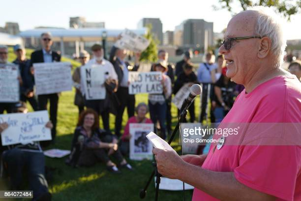 Antiwar activist Bruce Beyer speaks during a vigil commeorating the 50th anniversary of the 1967 March on the Pentagon outside the Pentagon October...