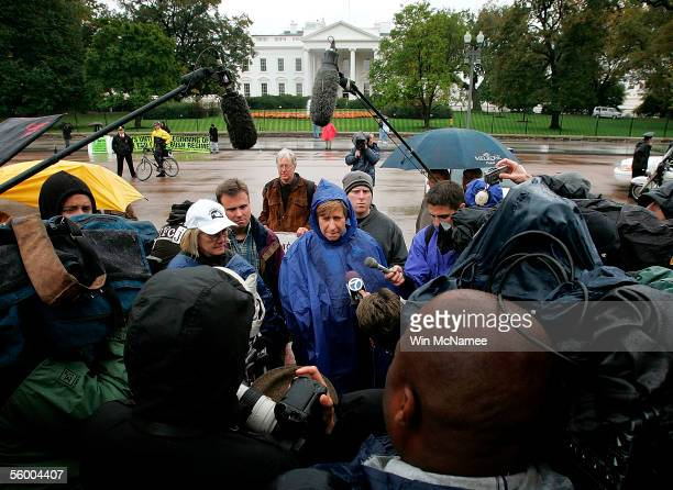 Antiwar activist Cindy Sheehan whose Casey son died in Iraq speaks outside the White House October 25 2005 in Washington DC With reports of US deaths...
