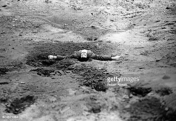 AntiWar activist Tim Young lays on the ground January 1968 in Port Jervis New York