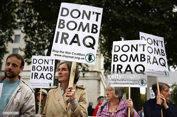 Anti-war demonstrators gather near Downing Street on September 25, 2014 in London, England. Parliament will vote on possible military action against...