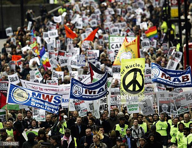 Antiwar demonstrators gather to mark the anniversary of the Iraq War March 20 2004 in London A march from Hyde Park to Trafalgar Square was held to...