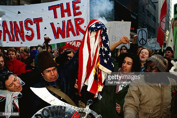 AntiWar demonstrators in Chicago burn a flag in protest of the Persian Gulf War In 1990 US forces were sent to the Persian Gulf region in response to...
