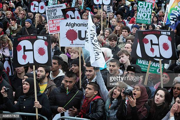 anti-war demonstrators, london. - mob stock photos and pictures