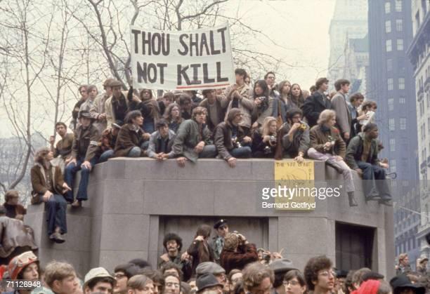 Antiwar demonstrators protest the Vietnam War in Bryant Park New York New York April 1969