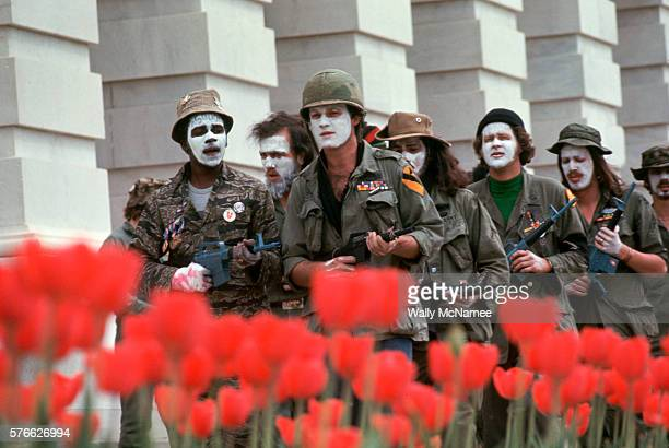 Antiwar protesters stage guerrilla theater on Capitol Hill to try to end congressional support of the war in Vietnam The protesters many of them...