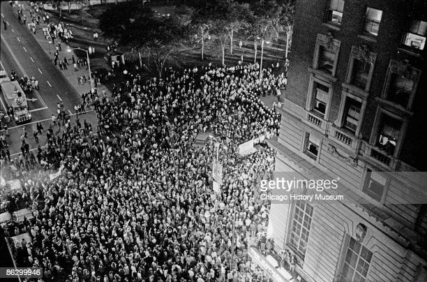 Antiwar protestors and Chicago police confront each other outside the Chicago Hilton during the Democratic National Convention Chicago 1968