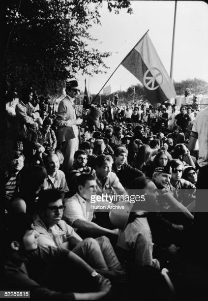 Antiwar protestors sit together during a demonstration outside the 1968 Democratic National Convention Chicago Illinois August 1968