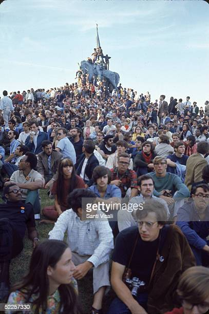 Antiwar protestors sit together during a demonstration outside the 1968 Democratic National Convention Chicago Illinois August 28 1968