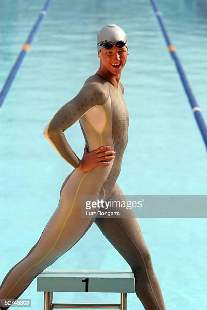 Antje Buschschulte of Germany is seen wearing the new Speedo swimsuit on April 8 2005 in Barcelona Spain